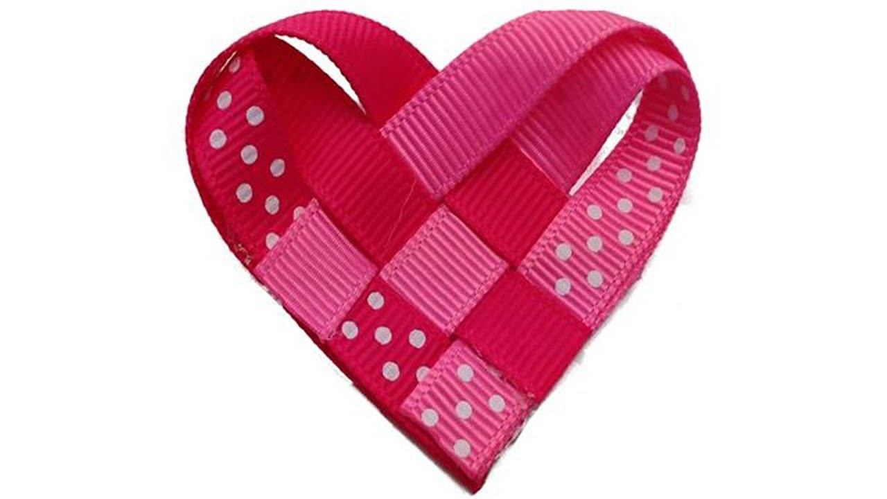 How To Make A Ribbon Woven Heart Valentine S Day Hair Clip Youtube
