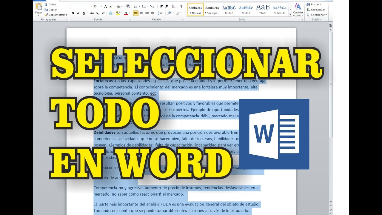 Como seleccionar todo en word curso de word youtube for En word cual es el interlineado
