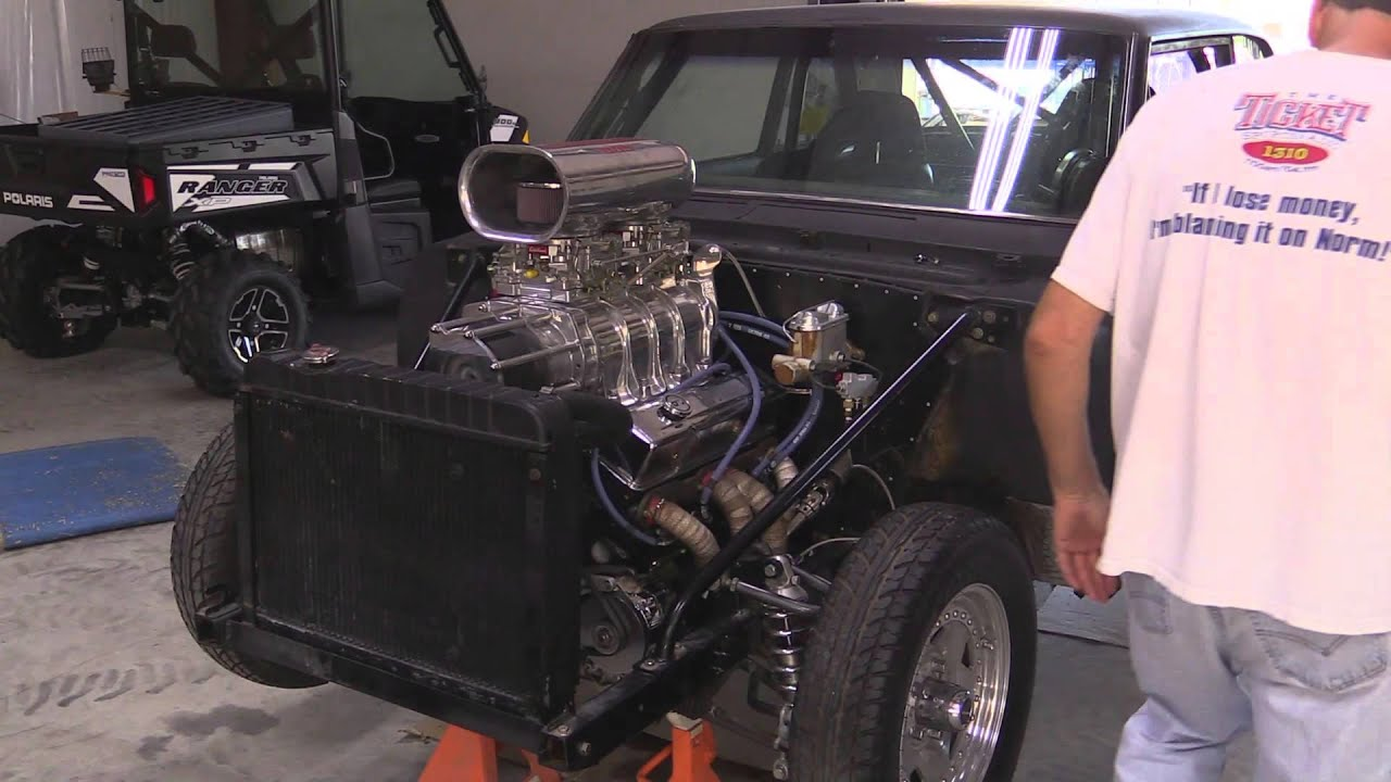small resolution of 1966 chevy ii 383cid sbc 6 71 blower engine start up