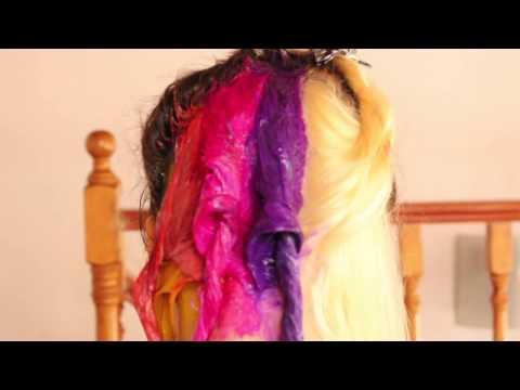 RAINBOW HAIR TUTORIAL WITH BLEACHING  NUNEKHIIA