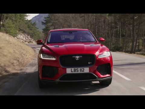 Jaguar F PACE SVR 550PS AWD Firenze Red Driving in Southern France