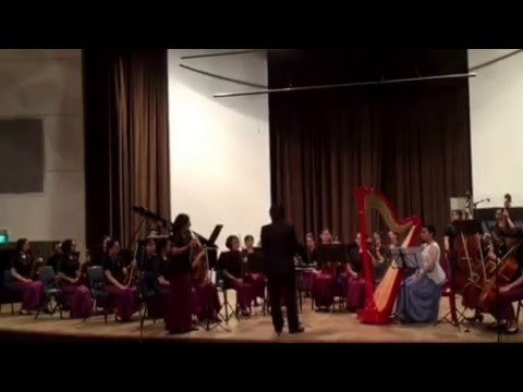 Charis on Flute with MGS String Ensemble, Harp & Piano