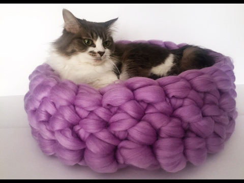 HAND CROCHET MERINO CAT BED IN LESS THAN 30 MINUTES! 10% OFF