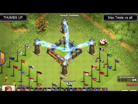 MAX TESLA FARM VS ALL TROOPS 2018 [100,000 KV] - Clash Of Clans