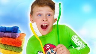 Brush Your Teeth kids songs! Ali and his bike funny morning routine