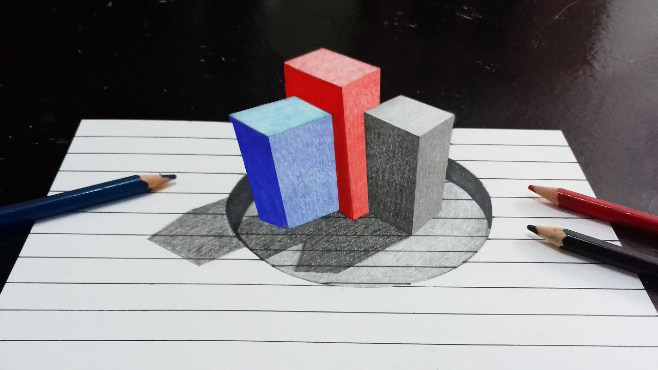 How To Draw A 3d Color Boxes 3d Color Boxes Easy 3d Drawings For Kids
