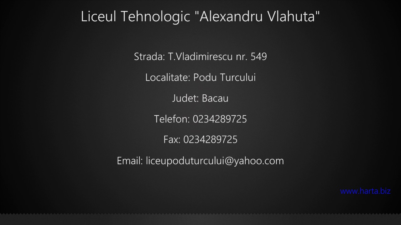 Liceul Tehnologic Alexandru Vlahuta Podu Turcului Youtube
