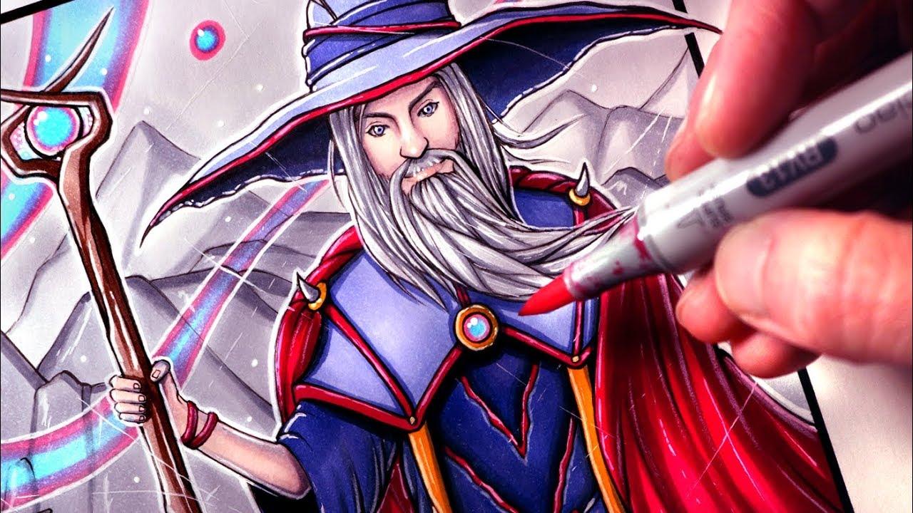 let s draw a wizard fantasy art friday youtube