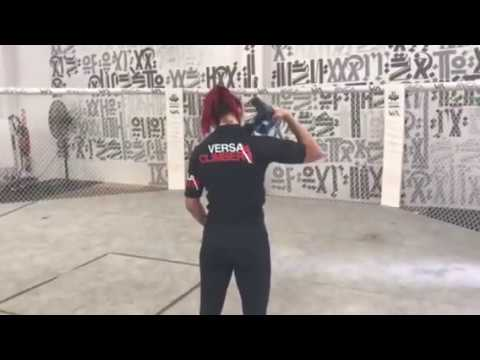 VersaClimber sponsored athlete  Cris Cyborg uses TheraGun Rehab Massage GUN Therapy