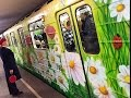 Цветочный вагон в киевском метро - подарок женщинам к 8 марта