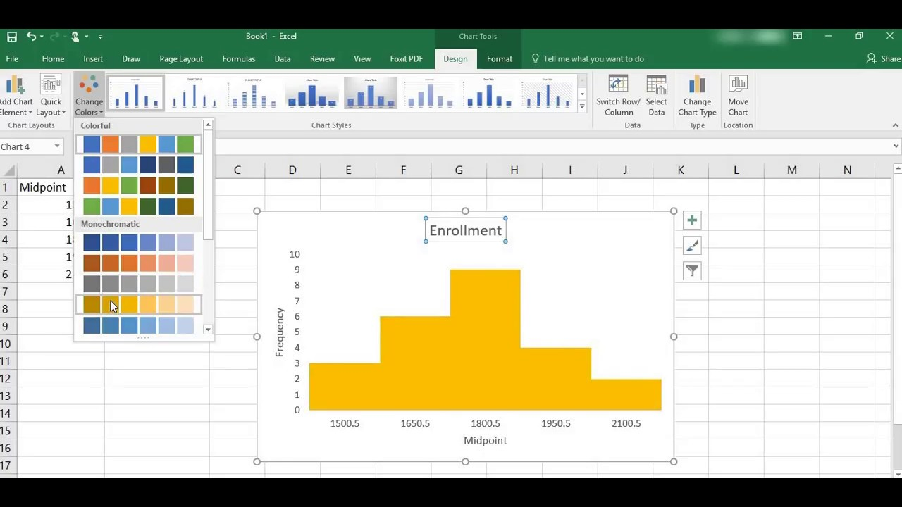 creating a histogram in excel with midpoint and frequency