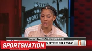 candace parker joins the nation to talk lebron wnba pay gap sparks and more sportsnation espn