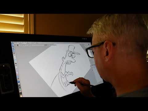Drawing today's editorial cartoon.