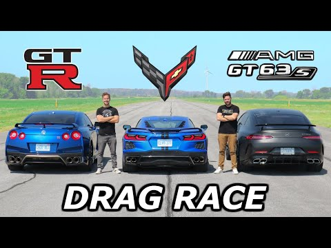 2020 C8 Corvette vs Nissan GT-R vs Mercedes-AMG GT63 S // DRAG & ROLL RACE