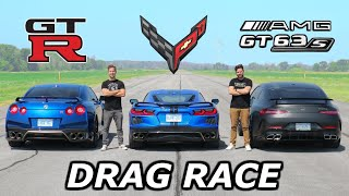 2020 C8 Corvette vs Nissan GT-R vs Mercedes-AMG GT63 S // DRAG \u0026 ROLL RACE