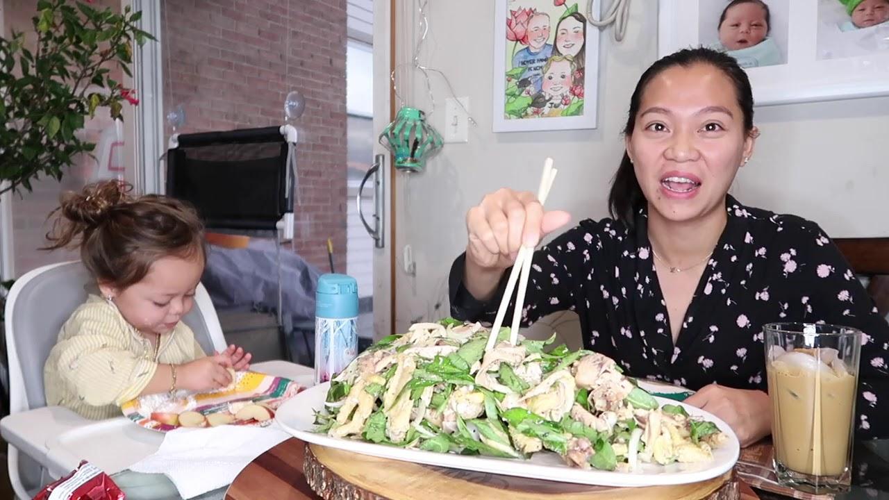 Vlog 1155 ll TỰ LÀM GỎI GÀ RAU RĂM- CHIA SẺ CHUYỆN ĂN GIẬT VÀ ĂN CẮP TRÀN LAN Ở MỸ