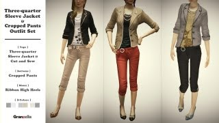 Three-quarter Sleeve Jacket & Cropped Pants Outfit Set PV by Granzella - PlayStation®Home