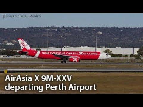AirAsia X (9M-XXV) Airbus A330-343 leaving RW03 at Perth Airport.