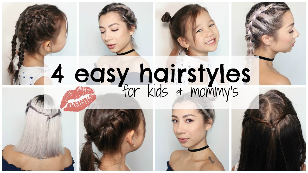 how to: 4 easy hairstyles for kids & mommy's - youtube