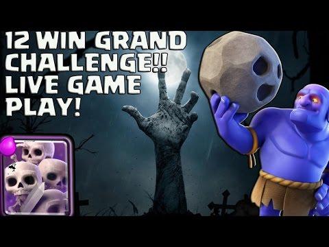 12 WIN GRAND CHALLENGE! LIVE BATTLES BOWLER GRAVEYARD! CLASH ROYALE