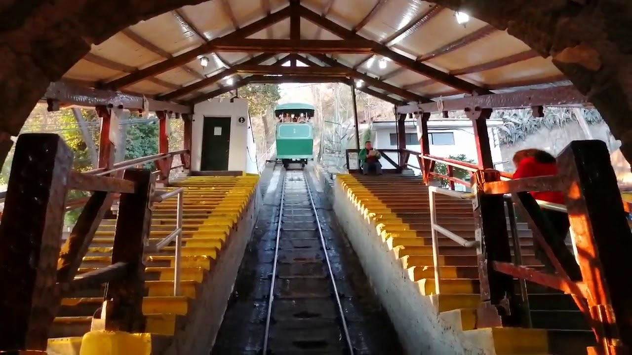 Santiago Chile Funicular railway entering the lower station
