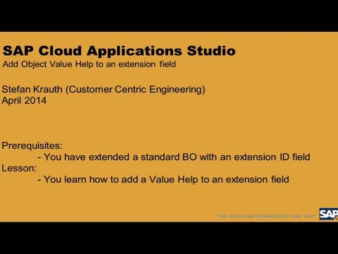 Cloud Applications Studio: Add Value Help to Extension Field