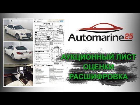 Как расшифровать аукционный лист японского авто