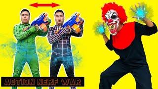 Action Nerf War: Spider Man S.W.A.T X Warriors Nerf Guns Fight Crime Group Rescue Hypnotized Friend