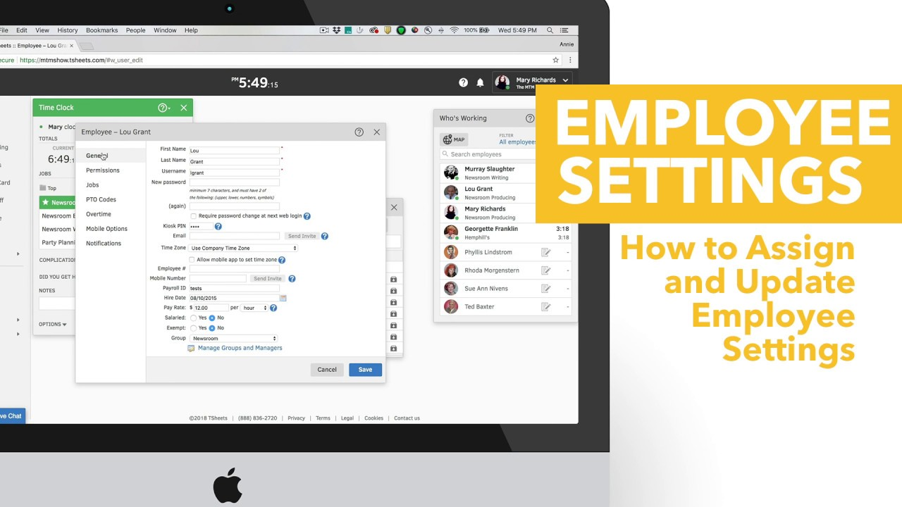 How to Assign and Update Employee Settings