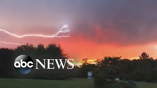 Lightning strikes against beautiful sunset