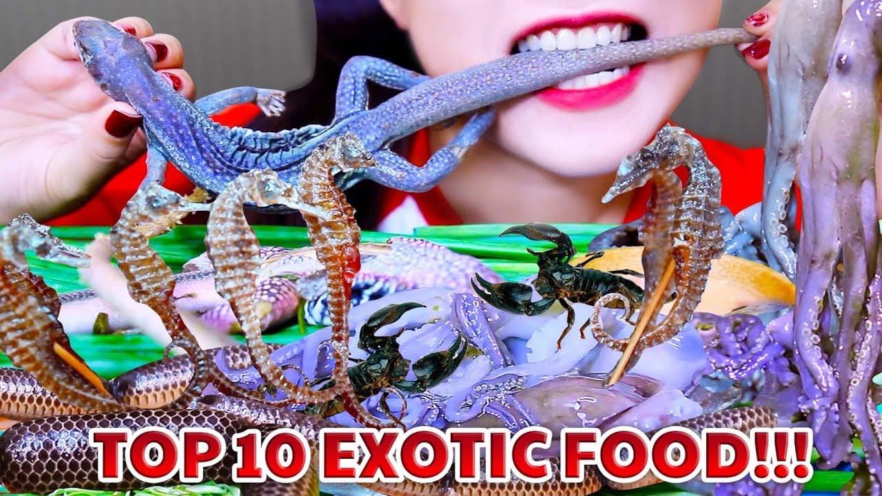 ASMR TOP 10 OF EXOTIC FOODS ON LINH ASMR CHANNEL |  LINH ASMR