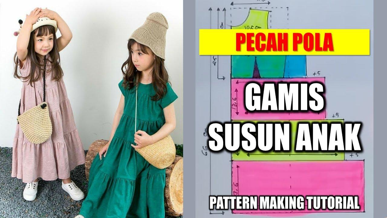 Pecah Pola Gamis Susun Anak Pattern Making Tutorial Youtube