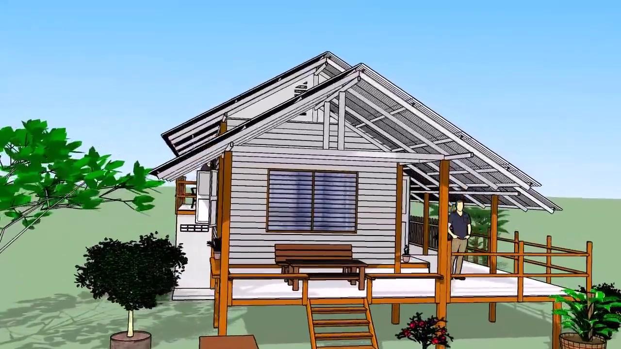 บ้านโครงหลังคาเหล็ก    ( No. 005 )    Sketchup by :  i. pakdee
