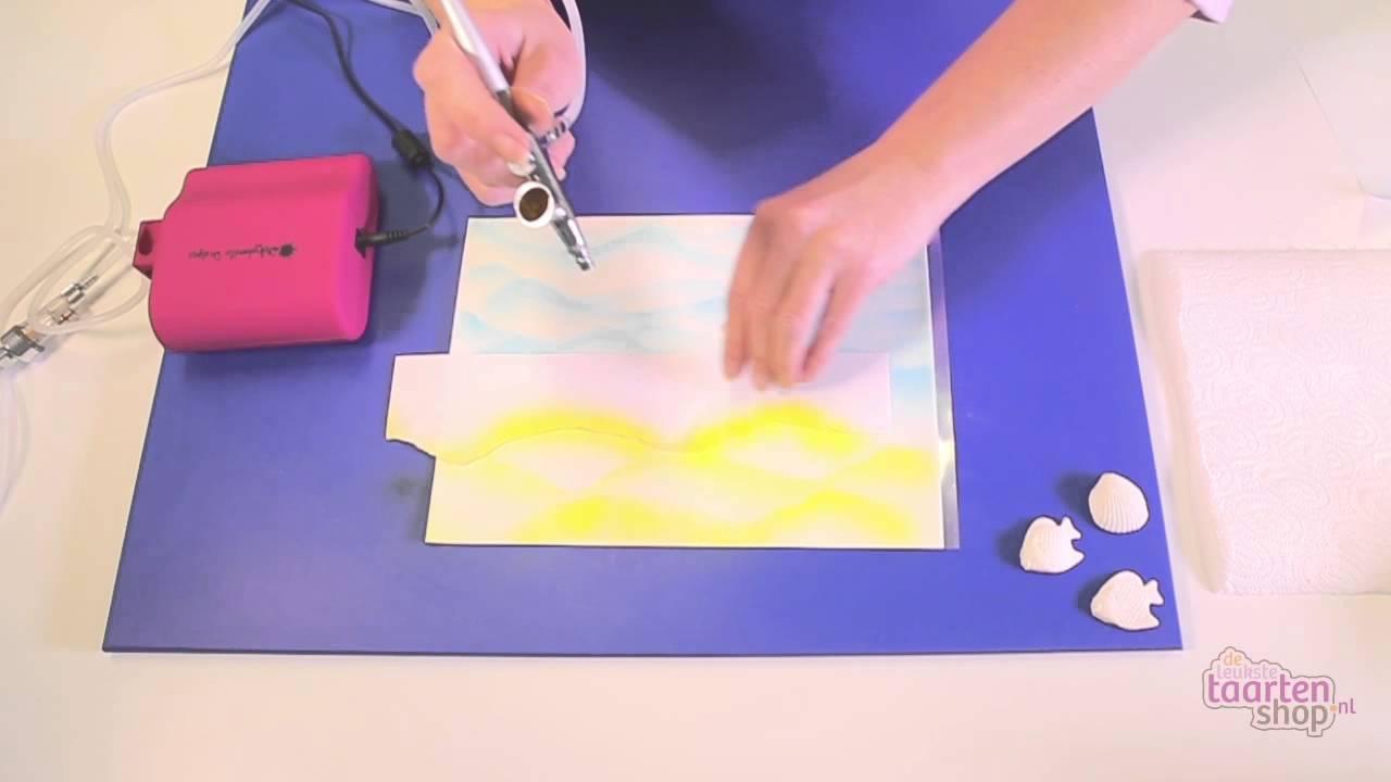 airbrush taart decoratie Taart decoreren   decoreren met een airbrush   YouTube airbrush taart decoratie