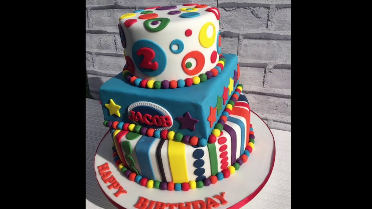 Colourful 3 tier birthday cake YouTube