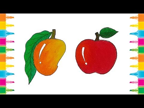How to Drawing and coloring Mango and Apple for Kids