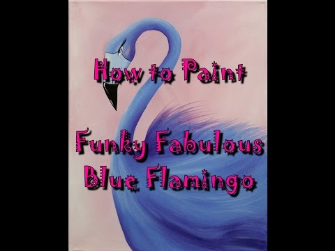 #ColorOfTheYearArt Funky Fabulous Blue Flamingo Acrylic Painting for Beginners