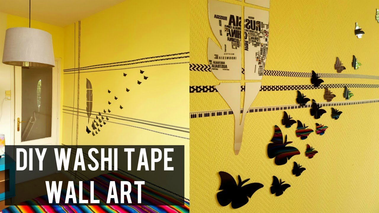 $2 DIY WASHI TAPE WALL ART | ROOM DECOR DIY WITH WASHI TAPE - YouTube