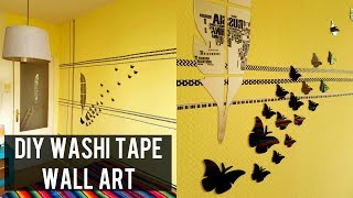 $2 DIY WASHI TAPE WALL ART | ROOM DECOR DIY WITH WASHI TAPE