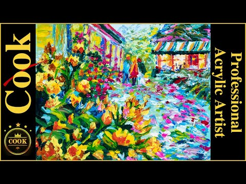 Impressionistic  Acrylic Palette Knife Garden tutorial with Ginger Cook