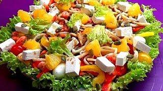 Рецепт салата с креветками и кальмарами без майонеза