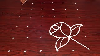 Full HD Rose Flower Rangoli 6-6 Dots Easy Blossom Muggulu Designs With Dots