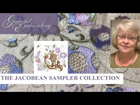 Introducing the Jacobean Samper collection of machine embroidery designs.