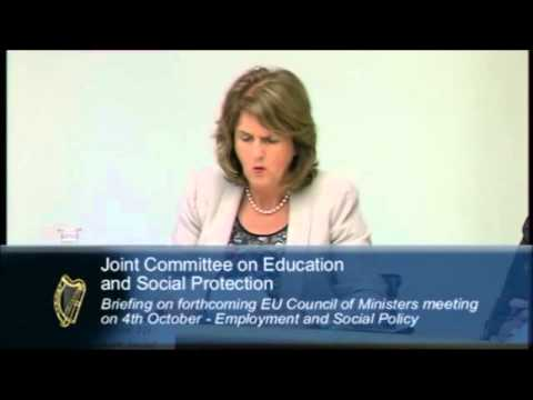 Minister Joan Burton speaking at the Committee on Education and Social Protection