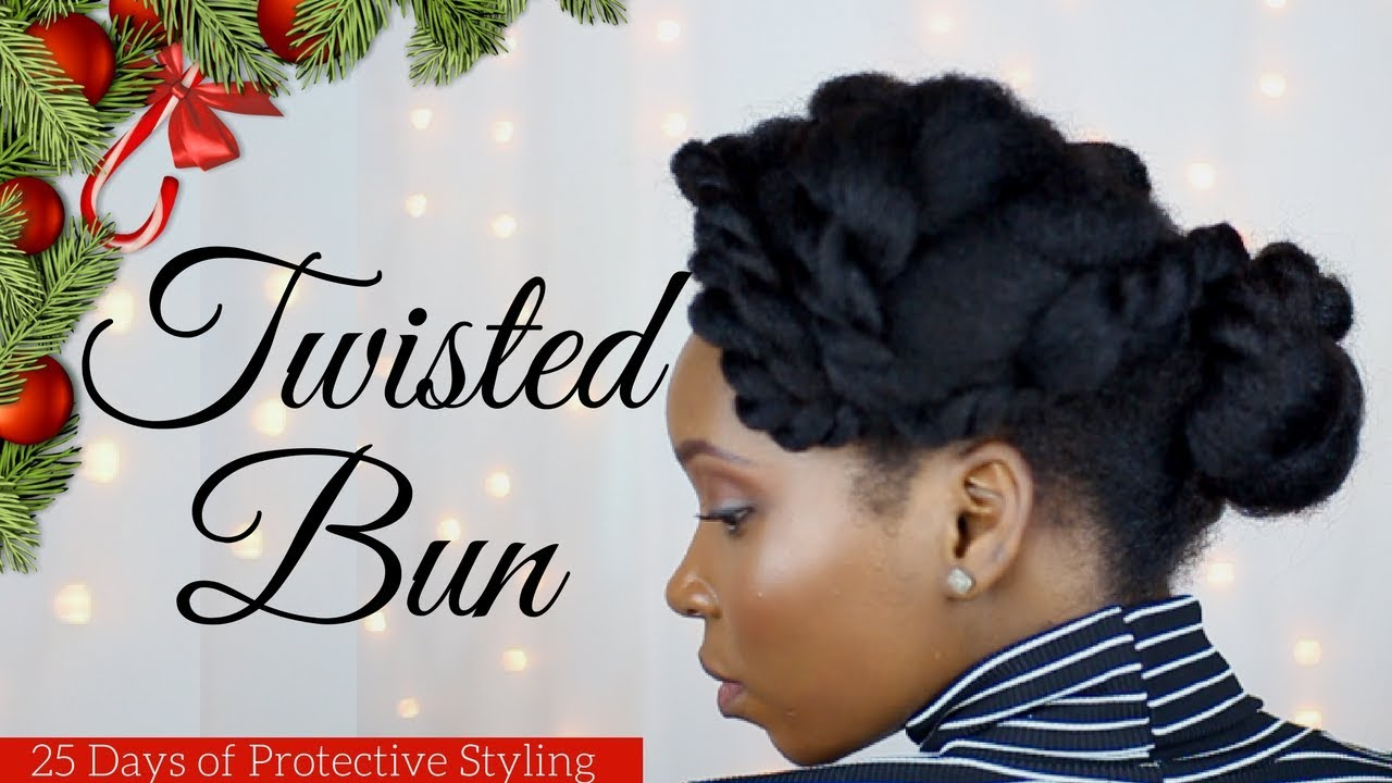 Christmas Hairstyles For Black Hair.Natural Hairstyles Twisted Bun Hairstyle Protective Styles Day 15 Of 25 Days Of Christmas