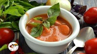 Томатный суп с сосисками – сытный, густой и вкусный.