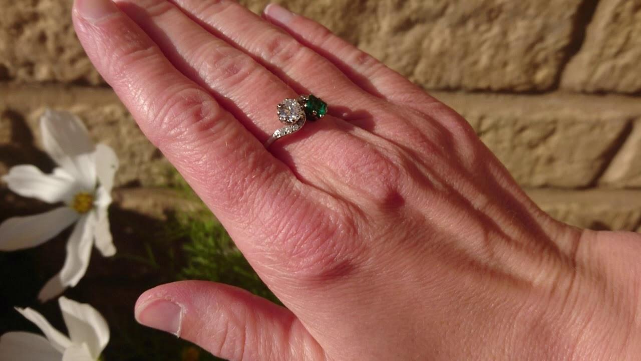 Vintage Platinum Diamond Two Stone Ring