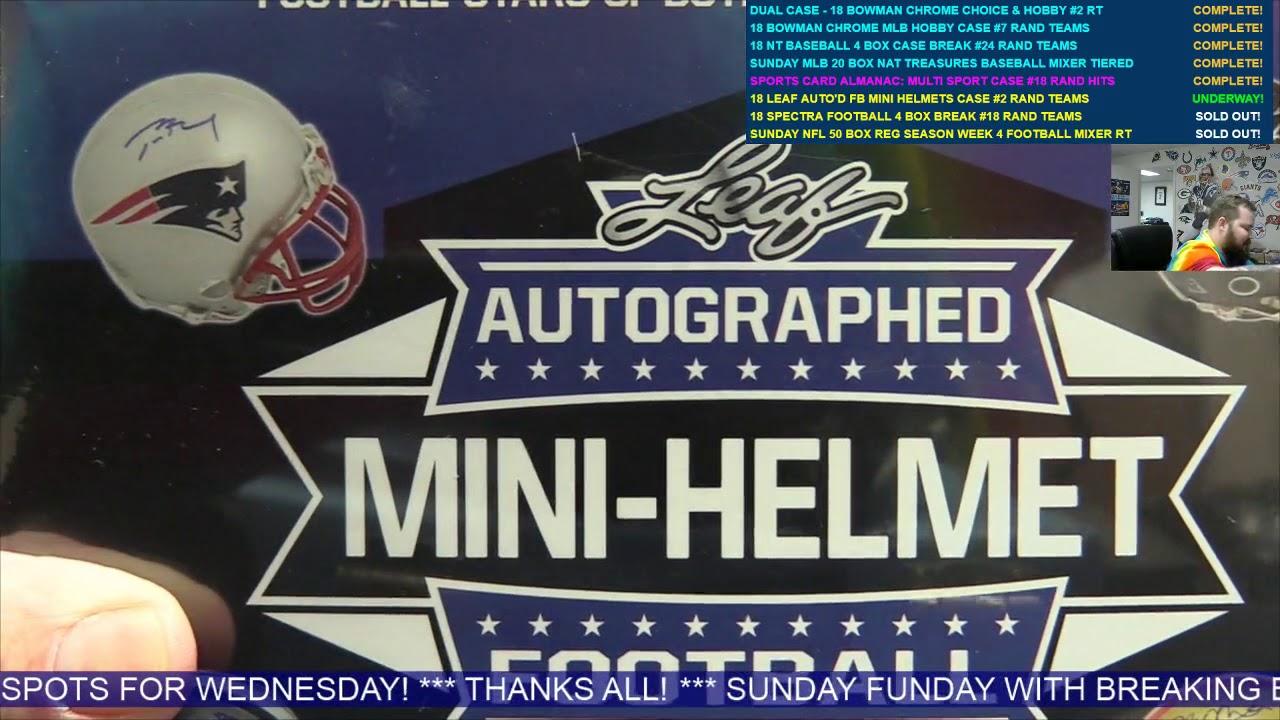edd2c972724 2018 Leaf Autographed Mini Helmet Football 8 Box Case Break  2 - RANDOM  TEAMS