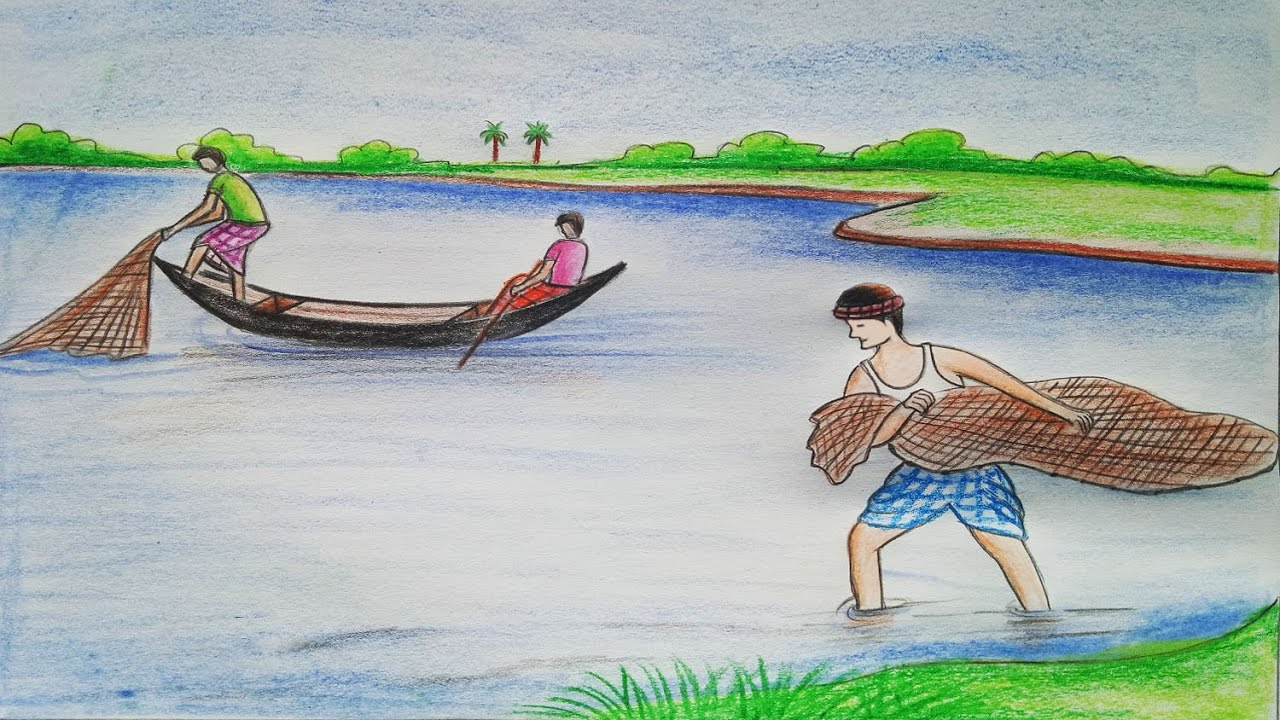 How to draw scenery of fishing step by step youtube for Fish scenery drawing