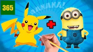 HOW TO DRAW TO PIKACHU STYLE MINION- PIKACHU EVOLVES IN BANANA !!